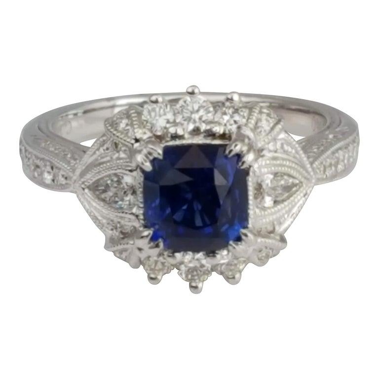 DiamondTown 1.6 Carat Cushion Cut Sapphire and 0.63 Carat Diamond Ring For Sale