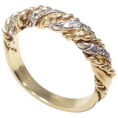 .16 Carat Diamond 14 Karat Gold and Platinum Stylized Twisted Ring Band, 1970