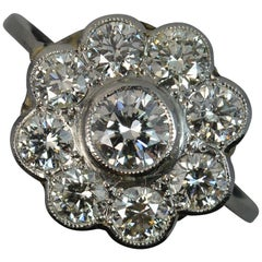 1.6 Carat Diamond and 18 Carat White Gold Daisy Cluster Ring