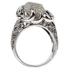 16 Carat Diamond Ring with Black Diamond Shoulders