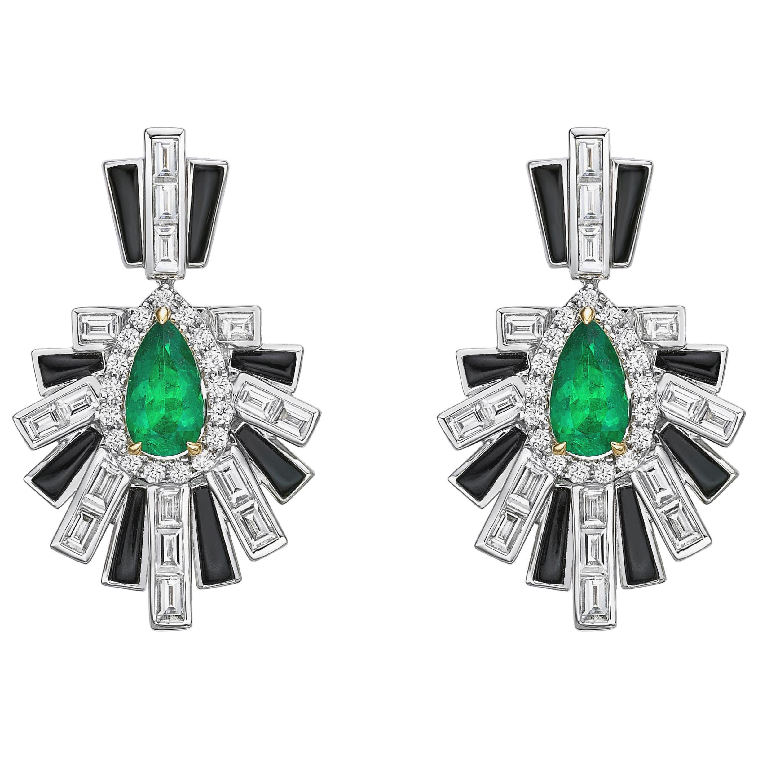 Art Deco Style Emerald, Black Onyx and Diamond Earrings in 18 Karat White Gold