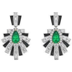 Art Deco Style Emerald, Black Onyx and Diamond Earrings in 18 Karat White Gold