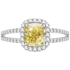 1.6 Carat Fancy Yellow Diamond and White Diamond 14 Karat White Gold Ring