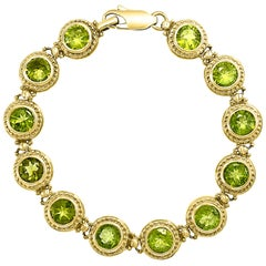 16 Carat Genuine Natural Peridot Tennis Bracelet 14 Karat Yellow Gold 16 Gram