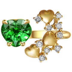 1.6 Carat Heart Shape Tsavorite Diamond 14 Karat Yellow Gold Ring