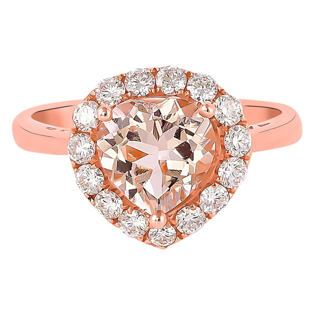 1.6 Carat Morganite and Diamond Ring in 18 Karat Rose Gold