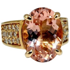 16 Carat Natural Morganite Diamonds Ring 14 Karat