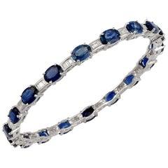 16 Carat Oval Sapphire & Diamonds 18 Karat White Gold 19.4 Grams Bangle