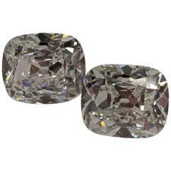 16 Carat Pair of Antique Cut Cushion Diamonds for Earrings D and E color GIA
