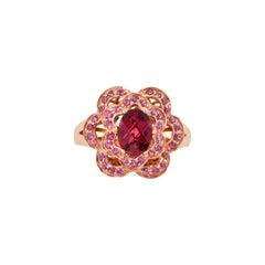 1.6 Carat Rhodolite Ring in 14 Karat Rose Gold