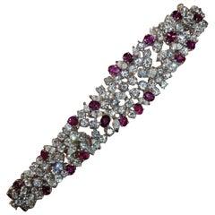16 Carat Round Marquise Diamond Ruby Bracelet 100% Handmade in Italy