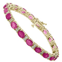 16 Carat Ruby 1 Carat Diamond Affordable Tennis Bracelet 18 Karat Gold New