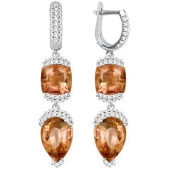 "16 Carat ""Sunset"" Tourmaline Diamonds 14 Karat White Gold Earrings"