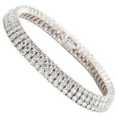 16 Carat Three-Row Diamond Platinum Tennis Bracelet