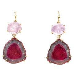 Susan Lister Locke 16 Carat Pink Topaz and Watermelon Tourmaline Earrings