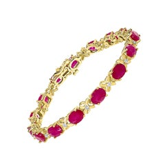 16 Carat Treated Ruby Tennis Bracelet 14 Karat Yellow Gold