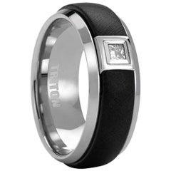 .16 Carat Tungsten Black Diamond Princess Band Ring