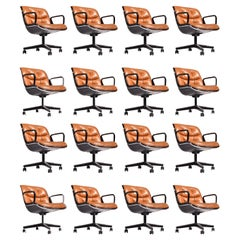 16 Charles Pollock Executive Desk Chairs for Knoll in Cognac Leather