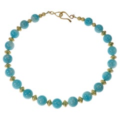 Choker Necklace of Amazonite with Gold Tone Accents