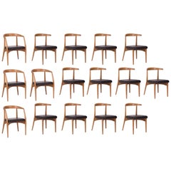 16 Lawrence Peabody Oak & Walnut Dining Chairs with Black Leather Seats