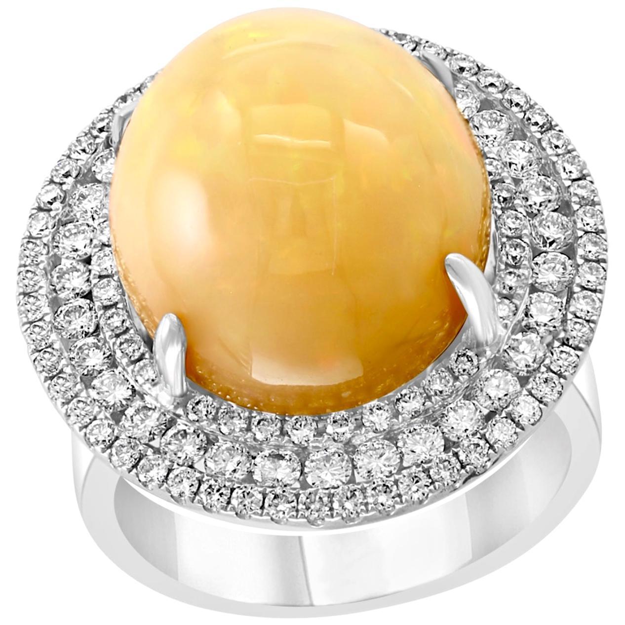 Round Opal and Diamond Cocktail Ring 18 Karat White Gold, Estate