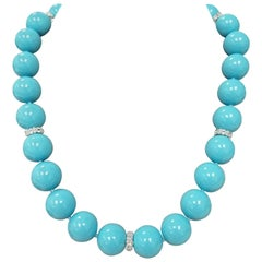 Spherical Beads of Composite Turquoise and Sapphire Rondelle Necklace