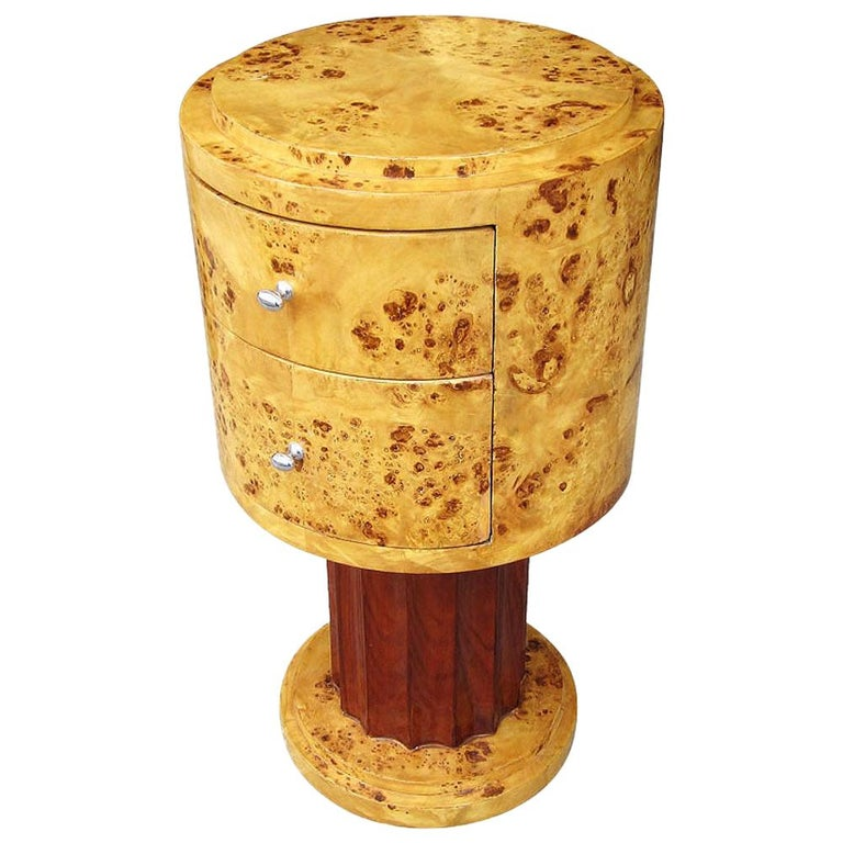 """16"""" Pair of Vintage Burl and Walnut Art Deco Style End Tables  For Sale"""