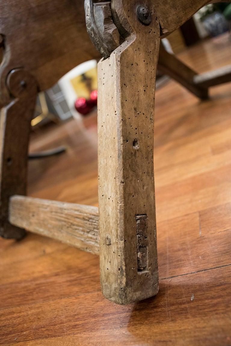 16th Century Spanish Walnut and Wrought Iron Dromedary Saddle For Sale 7
