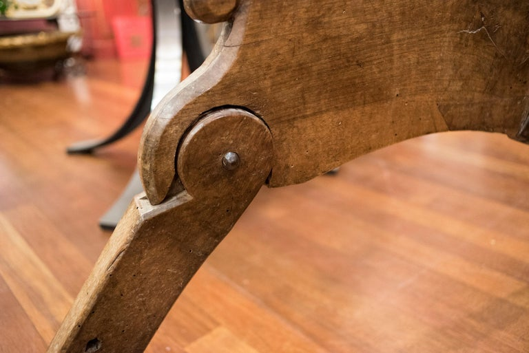 18th Century and Earlier 16th Century Spanish Walnut and Wrought Iron Dromedary Saddle For Sale