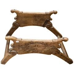 16th Century Spanish Walnut and Wrought Iron Dromedary Saddle
