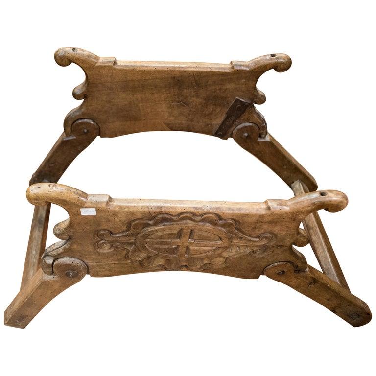 16th Century Spanish Walnut and Wrought Iron Dromedary Saddle For Sale