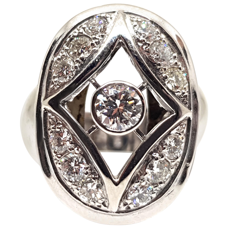 1.60 Carat 18 Karat White Gold Diamond Ring