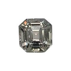 1.60 Carat Asscher Cut White Near Colorless Sapphire GIA Certified Unheated