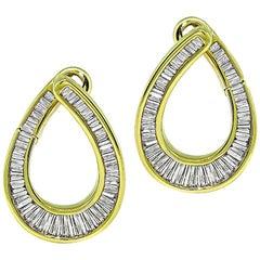 1.60 Carat Baguette Cut Diamond Gold Earrings