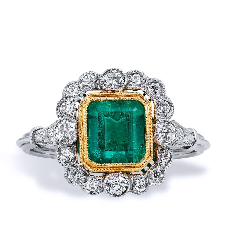 Emerald Cut GIA CERTIFIED  1.60 Carat Colombian Emerald Diamond Yellow Gold Platinum Ring For Sale