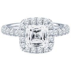 1.60 Carat Crisscut Cushion Diamond Ring, GIA Certified