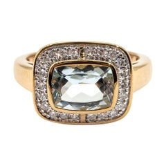 1.60 Carat Cushion Aquamarine and Diamond Halo Cluster 9 Carat Yellow Gold Ring