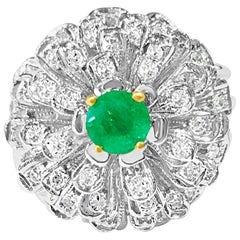 1.60 Carat Diamond and Colombian Emerald Ring