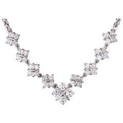 1.60 Carat Diamond Checkerboard Design Platinum Necklace