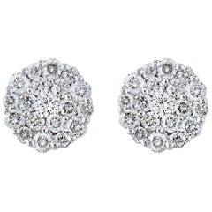 1.60 Carat Diamond Floral Cluster Flower Stud Earrings in 18 Karat White Gold