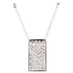 1.60 Carat Diamond Pendant with Unique Plaque Design Set in 14 Karat White Gold