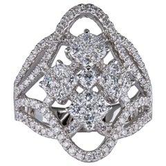 1.60 Carat Diamond Ring 18 Karat Gold Made in Italy