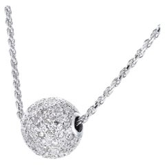 1.60 Carat Diamond White Gold Pave Ball Pendant Necklace