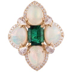 1.60 Carat Emerald, Opals and Diamond Ring Studded in 18 Karat Yellow Gold