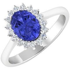 14Kt Gold Tanzanite & Diamond Engagement Ring, 1.80ctw