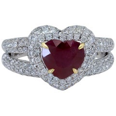 1.60 Carat Heart Shape Ruby and Diamond Halo Double-Row Engagement Ring