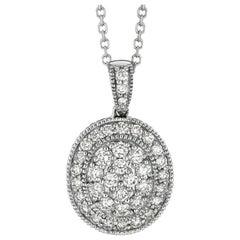 1.60 Carat Natural Diamond Oval Necklace 14 Karat White Gold