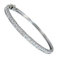 1.60 Carat Natural Diamonds Bangle Bracelet Edwardian Deco 14 Karat