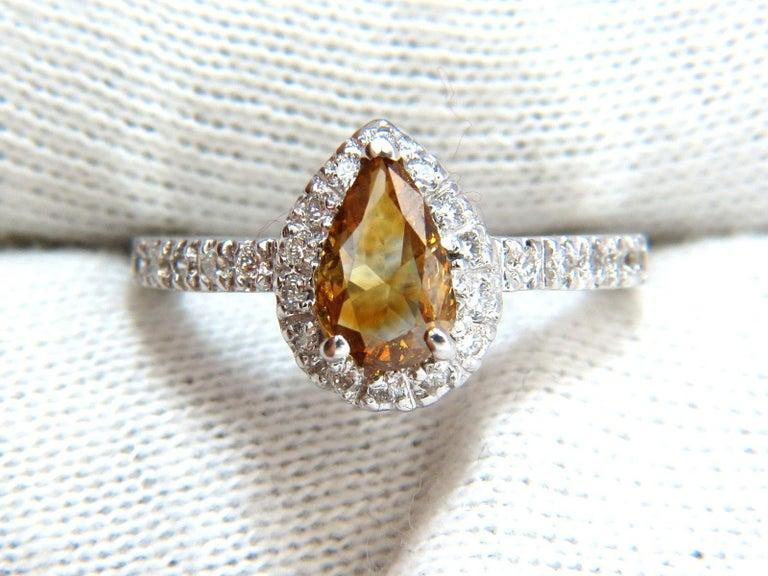 Pear Cut 1.60 Carat Natural Fancy Color Yellow Brown Diamonds Halo Ring 14 Karat For Sale