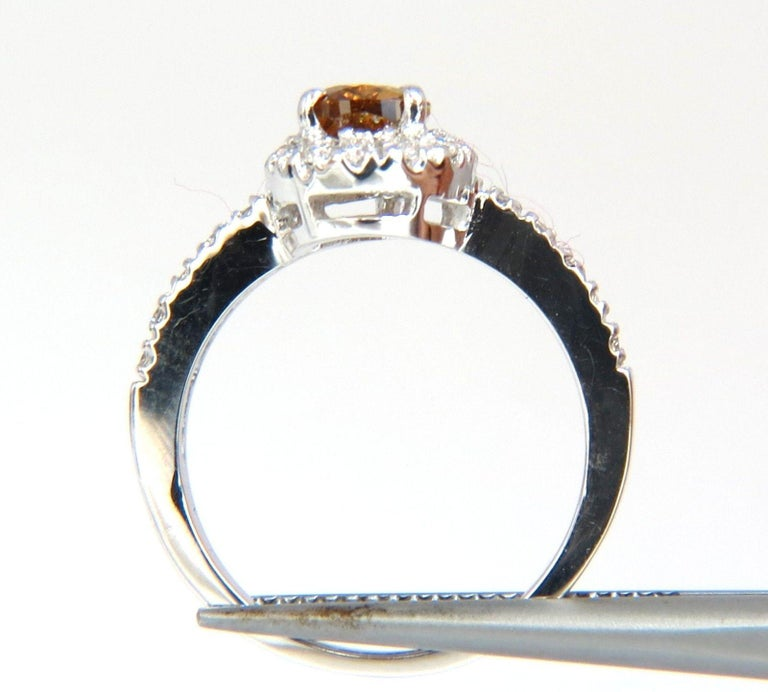 1.60 Carat Natural Fancy Color Yellow Brown Diamonds Halo Ring 14 Karat In New Condition For Sale In New York, NY
